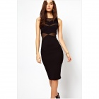 LC861826 Women's Sexy Mesh Sleeveless Midi Dress - Black (Free Size)