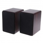Baodi LV-200 USB 2.0 + 3.5mm Plug Wooden Super Bass Speaker - Black (2 PCS)