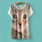 SYP-267 Women's 3D Digital Printing Cat Pattern Short Sleeve T-Shirt - White