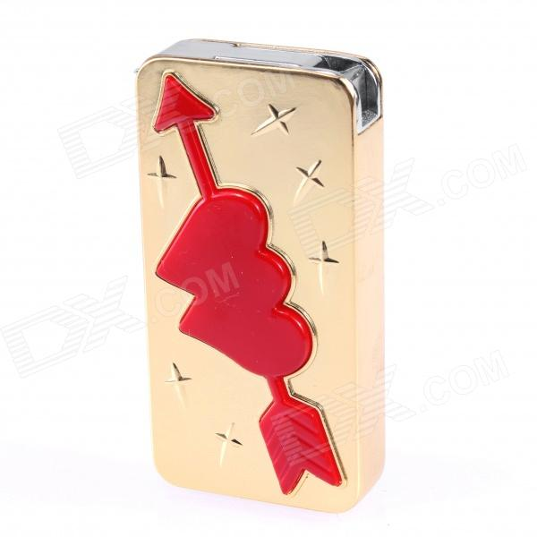HF221 Zinc Alloy Cupid's Arrow Windproof Butane Jet Ligther - Golden + Red