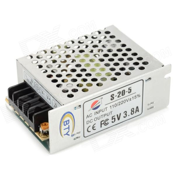BTY 19W 5V 3.8A Switching Power Supply - Silver + Black (110~220V)
