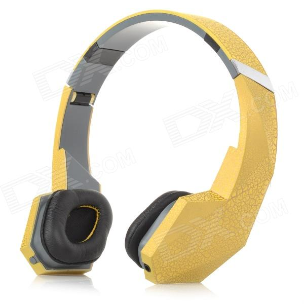 Cool Foldable Transformer 3.5mm Jack Bass Headset - Yellow + Grey hot selling randy rhoads signature yellow lp electric guitars with ebony fretboard left handed available