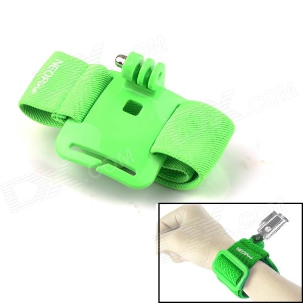 NEOpine G-410-G Elasticity Nylon Sport Camera Wristband Mount for Gopro Hero 4/ 2/3/3+/SJ4000 - Green neopine g 762 1080c sticker for gopro hero 4 silver camera yellow multicolored
