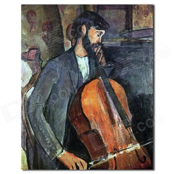 Larts Figure A Cellist Hand Painted Oil Painting with Stretched Frame - Grey