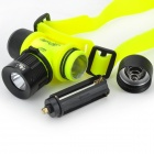LED 3-Mode 900lm White 90 Degree Rotatable Diving Headlamp - Green + Black(1 x 18650/3 x AAA)