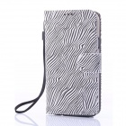ENKAY Zebra-stripe Protective PU Leather Case w/ Stand for Samsung Galaxy S5 G900 - Black + White