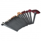 Portable Professional Plastic + Nylon Wool Cosmetic Makeup Brushes Set - Black (32 PCS)