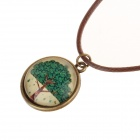 Retro Tree Pattern Flat Circular Pendant Necklace - Green + Brown