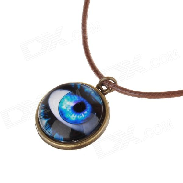 A100302 Women's Blue Eye Shaped PU Leather + Zinc Alloy Necklace - Blue + Black