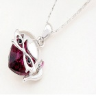FenLu Cute Sweet Girl Head Pendant Necklace - Amaranth + Silver