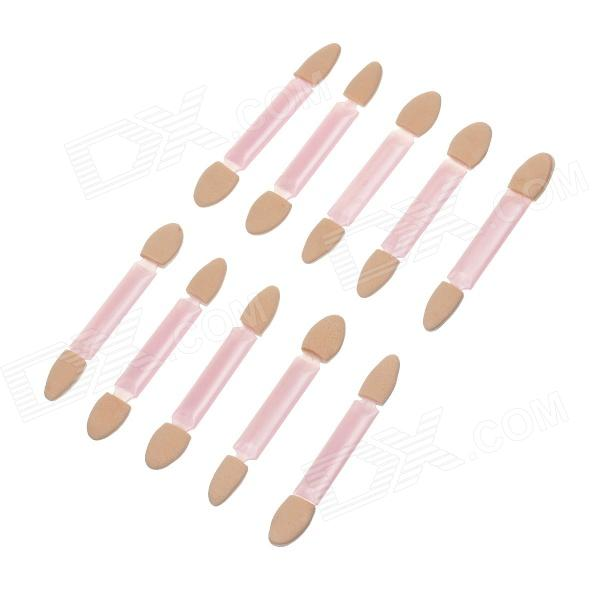 3316 Fashionable Double-end Sponge + Plastic Eyeshadow Brushes - Pink (10 PCS)
