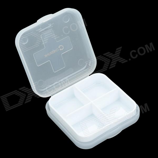 CHEERLINK Portable Removable 4-Compartment Crossed Mini Medicine Pill Case Box - White