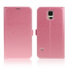ENKAY Silk Texture Protective PU Leather + Plastic Case for Samsung Galaxy S - Peach