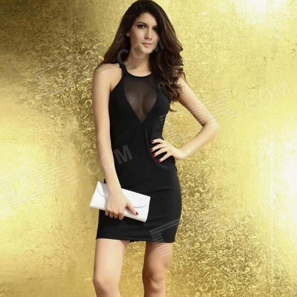 LC2943 Sexy Slim Backless Nightclub Polyester Dress for Women - Black