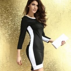 LC2951 Fashionable Round Neck Polyester Long Sleeve Bodycon Midi Dress - Black + White