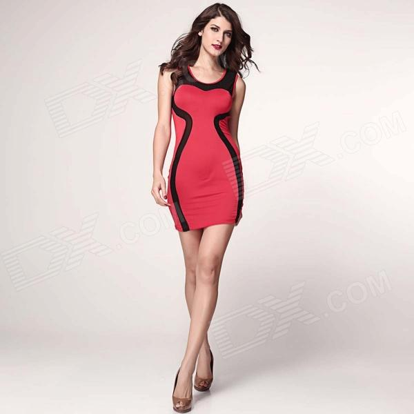 LC2954 Fashionable Sleeveless Slim Polyester Dress - Red