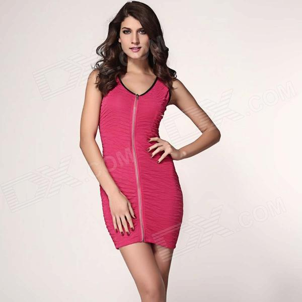 LC2956 Stylish Zipper Front V-collar Skinny Polyester Dress - Pink