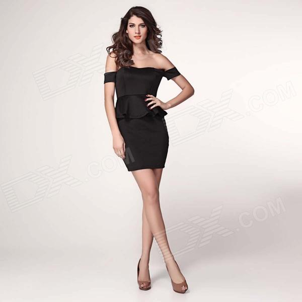 LC2957-2L Sexy Alluring Off-the-shoulder + Peplum Detail Skinny Polyester Dress - Black pearl detail frill off shoulder dress