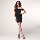 LC2957-2L Sexy Alluring Off-the-shoulder + Peplum Detail Skinny Polyester Dress - Black