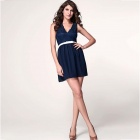 LC2958 Fashionable Deep V-Neck Sleeveless Slim Polyester Dress - Deep Blue