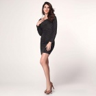 LC2960 Stylish Long Sleeve Shimmering Polyester Mini Dress w/ Ruch Detail - Black