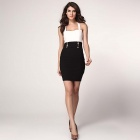 LC2962 Fashionable Sexy Polyester Nightclub Slim Dress - White + Black (Size L)