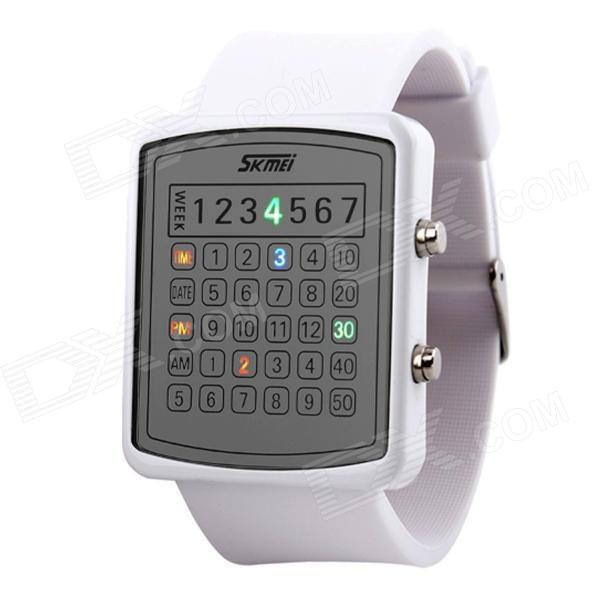 SKMEI 0987 Women's 30m Waterproof PU Wristband LED Digital Dial Wrist Watch - White (1 x CR2016) skmei fashionable waterproof led digital wrist watch w compass black 1 x cr2016