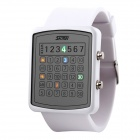SKMEI 0987 Women's 30m Waterproof PU Wristband LED Digital Dial Wrist Watch - White (1 x CR2016)