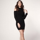 LC2964 Stylish  Off-The-Shoulder Long Sleeve Skinny Polyester Dress - Black