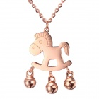 EQute Fashionable Stainless Steel Hobbyhorse w/ Tinkle Bell Pendant Necklace - Rose Golden