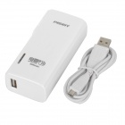PISEN TS-D082 5000mAh Rechargeable Li-ion Power Bank w/ Flipping US Plugs - White