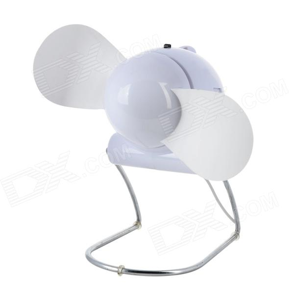 Mini Foldable AA Battery / USB-powered 2-blade Electric Fan - White