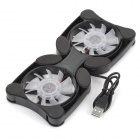 JLK-004 USB 2.0 Dual-Fan Cooling Dock Stand for Laptop - Black (DC 5V)
