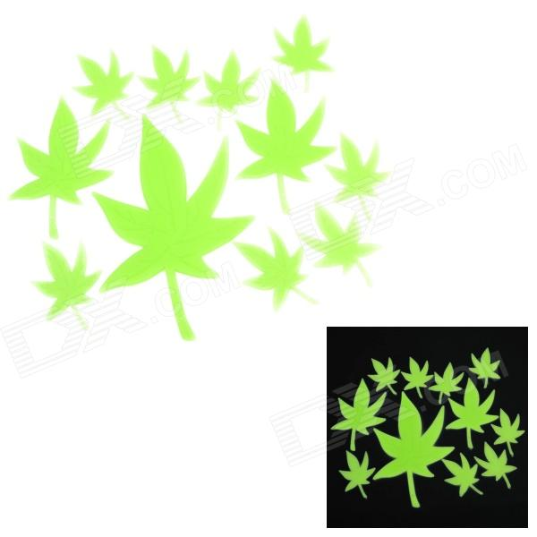 Maple Leaf Style DIY Decoration PVC Glow-in-the-Dark Wall Sticker - Green (12 PCS) glow in the dark dog footprint style decoration wall paper sticker green