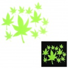 Maple Leaf Art-DIY Dekoration PVC-Glow-in-the-Dark Wandaufkleber - Green (12 Stück)