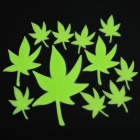 Maple Leaf Style DIY Decoration PVC Glow-in-the-Dark Wall Sticker - Green (12 PCS)