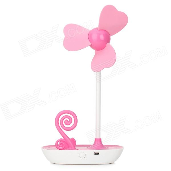 HAPTIME YGH-521 Cute Desktop 3-Blade Fan w/ Mobile Phone Holder - Pink + White