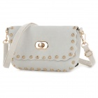 Fashion Rivet Decorated PU Flannel Shoulder / Clutch Bag / Purse / Handbag - White