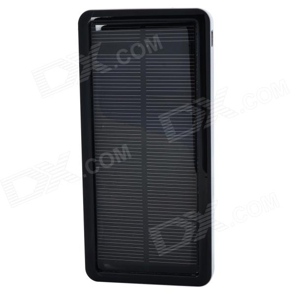 S-What Solar Powered Dual-USB 12800mAh External Li-polymer Battery Charger Power Bank - Black
