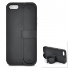 ZAP Protective Silicone Back Case Cover w/ Foldable Stand for IPHONE 5 / 5S - Black