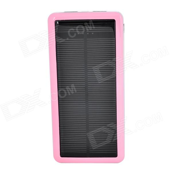 S-What Solar Powered Dual-USB 12800mAh External Li-polymer Battery Charger Power Bank - Pink jc4w60 foldable 5000mah solar powered external battery power bank white black