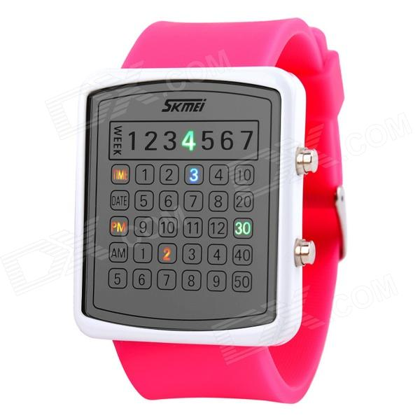SKMEI 0987 Women's 30m Waterproof LED Digital Dial Wrist Watch - Red + White (1 x CR2016) skmei fashionable waterproof led digital wrist watch w compass black 1 x cr2016
