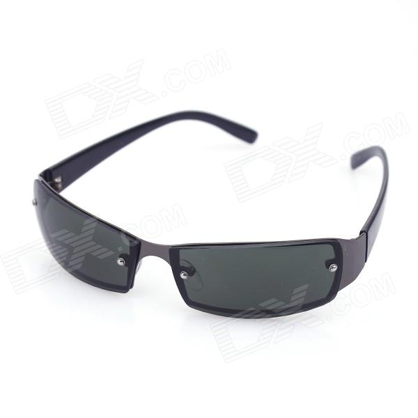 Fashionable UV400 Protection Resin Lens Sunglasses - Black + Dark Green clip on uv400 protection resin lens attachment sunglasses small