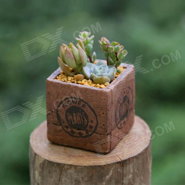 Cement Imitation Wood Fleshy Flowerpot w/ Bottom Hole - Coffee