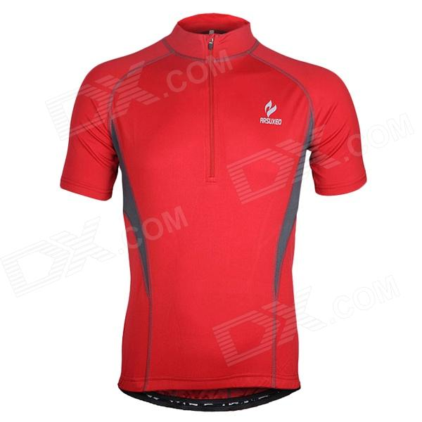 ARSUXEO AR665 Polyester Cycling Short-Sleeves Jersey - Red (Size XL) arsuxeo ar608s quick drying cycling polyester jersey for men fluorescent green black l