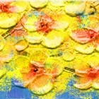 Larts Floral Thick Painted Knife Tress Hand Painted Oil Painting - Yellow