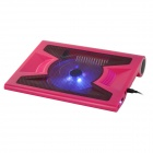 Hunpol NB-090 USB 2.0 3-Port 13-Blade Cooling Pad w/ Speaker / LED for Laptops - Deep Pink + Black