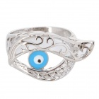 Fenlu LYJ-023 Fashionable Blue Eye Shaped Copper Ring for Women - Silver + Blue (U.S Size 7)