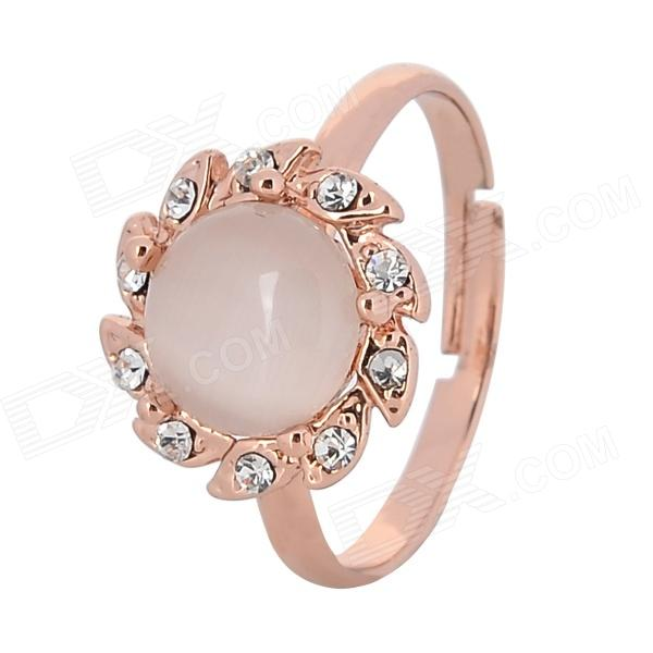 Kvinnors Sunflower Pattern Zink Alloy + Katten synar Ring - Rose Gold ( Justerbar storlek)