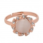 Women's Sunflower Pattern Zinc Alloy + Cat's Eye Ring - Rose Gold (Adjustable Size)